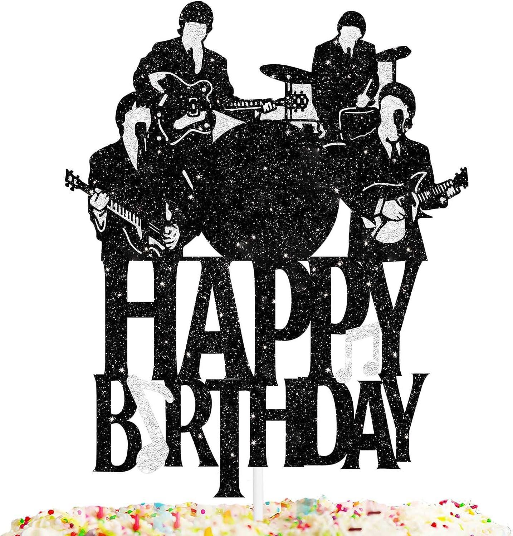 Happy Birthday Cake Topper Music rock pop Theme Black Glitter Decor Picks for Beatlemania Party Decorations Supplies