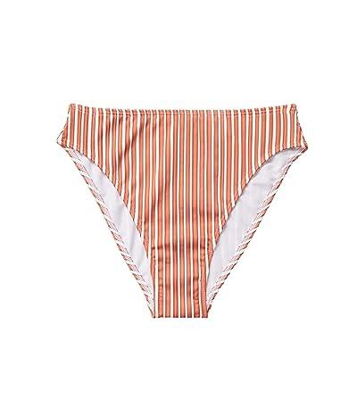 Roxy Sandy Treasure High-Leg Swim Bottoms (Bright White Loust Stripes) Women