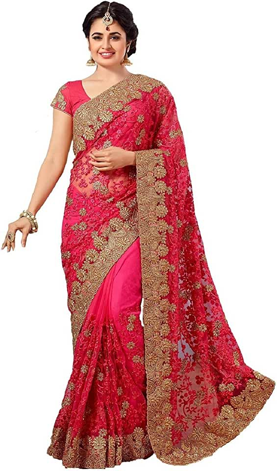 Indian Nivah Fashion Women's Woven Net Embroidery Saree With Blouse Piece Saree