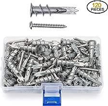 JUIDINTO Zinc Drywall Anchors with Screws Self Drilling Hollow Wall Anchors M4.2 Tapping Screws Assortment Kit 120 pcs