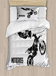 Lunarable Dirt Bike Duvet Cover Set, Weathered Effect with Biker Silhouette and Motocross Racing Moves Theme, Decorative 2 Piece Bedding Set with 1 Pillow Sham, Twin Size, Coconut Black