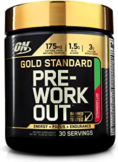 Optimum Nutrition Gold Standard 系列 健身前氮泵 膳食补充剂 含肌酸、丙氨酸和咖啡因草莓柠檬口味,30份