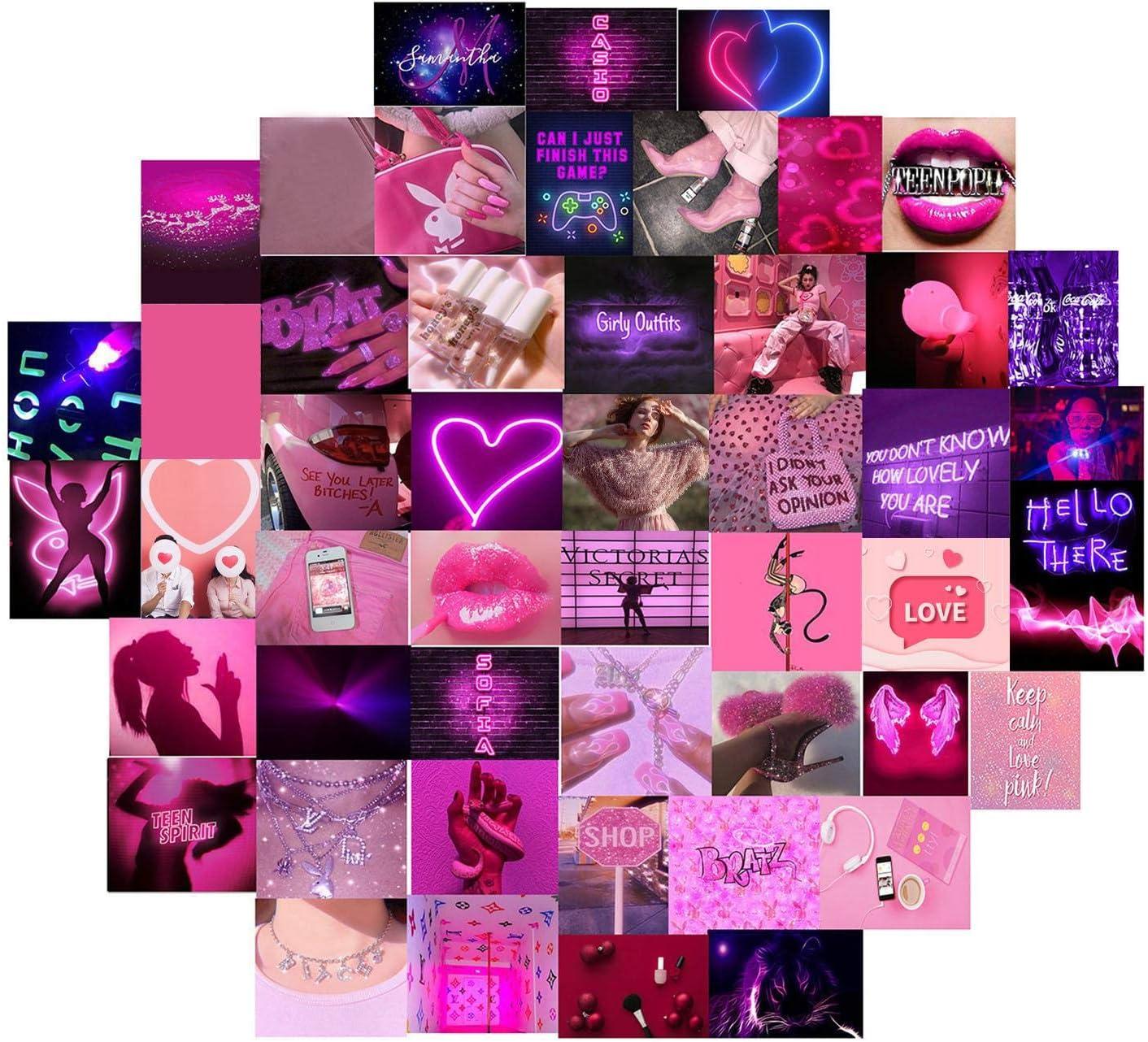 aniceday 50pcs Wall Collage Kit Exqusite Aesthetic Pósters Chic Collage Kit, Pink Photo Art Pictures Kit De Collage para Decoración De La Habitación - Colección De Fotos De 4x6 Pulgadas
