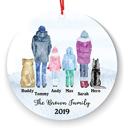 Personalized Family of 4 5 Children Boy Girl Kids Baby with Pet Dog Cat Owner Christmas Ornament Parents Pet Lover Gifts Custom Portrait Fur Mom Dad with Beautiful Snow Scene (Family of 4 with pet)