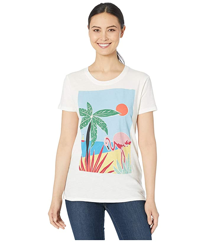 Lucky Brand  Tropical Crew Tee (Marshmallow) Womens Clothing