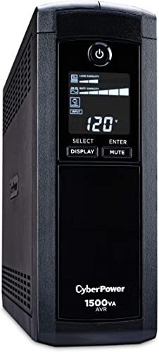CyberPower CP1500AVRLCD Intelligent LCD UPS System, 1500VA/900W, 12 Outlets, AVR, Mini-Tower,Black