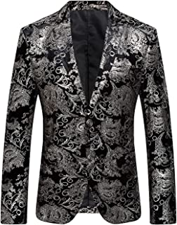 b13caa9202de DGMJ Formal Dinner Jacket Men Stylish Floral Blazers for Men Slim Fit for  Wedding XZ016