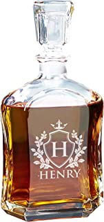 Custom Engraved Liquor Decanter, Glass Whiskey Gifts, Personalized for Free with Shield Design - 23.75 Oz
