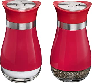 MITBAK Salt and Pepper Shakers (2-Pc. Set) Elegant w/Clear Glass Bottom | Compact Cooking, Kitchen and Dining Room Use | Classic, Refillable Design (Red)