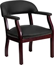 Flash Furniture Black Leather Conference Chair with Accent Nail Trim -