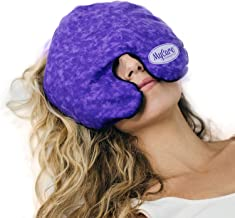 MyCare Face Mask (with Washable Cover) Hot Cold Compress Therapy, Natural Reusable Relief for Migraine, Tension, Stress, Sinus, Headache and Relaxation (Purple)
