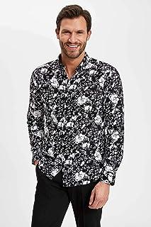 DeFacto Düğmeli Yakalı Uzun Kollu Çiçel Desenli Slim Fit Gömlek