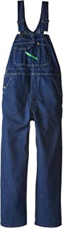 Key Apparel Men's Garment Washed Zip Fly High Back Bib Overall - 34W x 29L - Indigo Blue