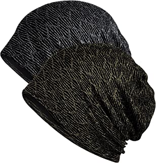 Jemis Womens Cotton Chemo Hat Beanie Scarf - Beanie Cap Bandana for Cancer (2 Pack Gold & Silver)