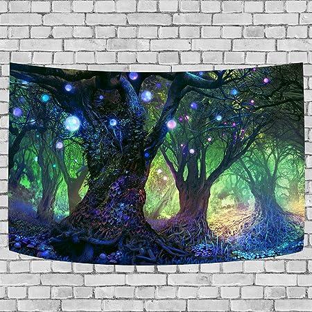 Dbllf Fantasy Forest Tapisserie Psychedelic Tree Thema Hintergrund Tapisserie Magische