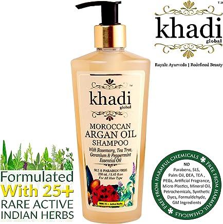 Khadi Global Moroccan Argan Hair Shampoo Rosemary Tea Tree Geranium & Peppermint Essential Oil Infused For Healthy Hair & Scalp - 250ml