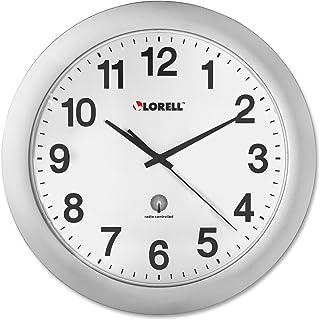 Lorell LLR60996 Radio Controlled Arabic Numeral Analog Wall Clock, Daylight Saving Radio-controlled, 12-Inches,Silver