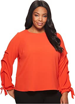 Plus Size Long Sleeve Tiered Tie Cuff Textured Blouse
