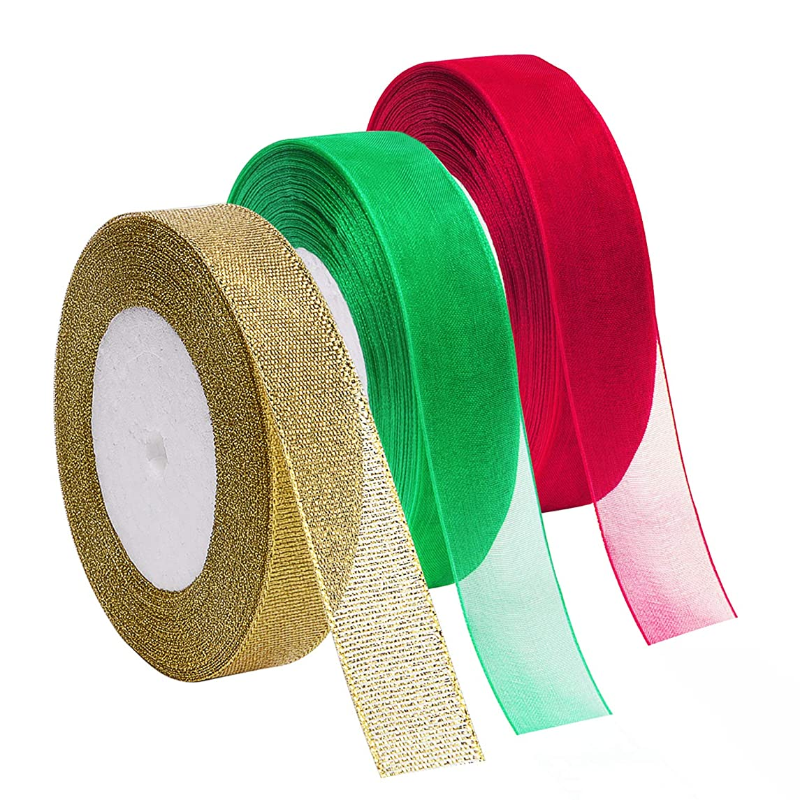 Livder 3 Rolls 125 Yard Christmas Organza Glitter Ribbons for Gift Wrapping, Christmas Tree Room Decoration