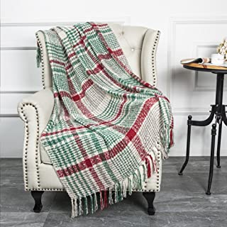 Christmas Home Decor Super Soft Vintage Fluffy Plaid Throw Blanket-100% Acrylic Cashmere-like- Bedspread Picnic Tailgate Stadium RV Camping Blanket Throw with Fringe,50