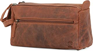 Handmade Buffalo Genuine Leather Toiletry Bag Dopp Kit Shaving and Grooming Kit for Travel ~ Gift for Men Women ~ Hanging Zippered Makeup Bathroom Cosmetic Pouch Case by Rustic Town (Brown)