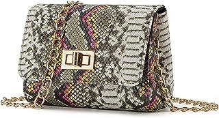 Snakeskin Crossbody Bag Mini Purse for Women Girls Cute Shoulder Bag with Chain Strap