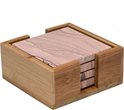 Thirstystone Sandstone Coasters with Bamboo Holder Included, Multicolor