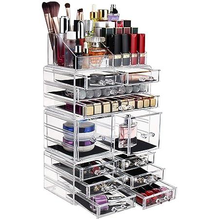 DAWOO Boîte à bijoux en acrylique pour maquillage - Cadeaux de fête des mères - Organisateur à tiroirs - Boîte de rangement (transparente, 12 tiroirs)