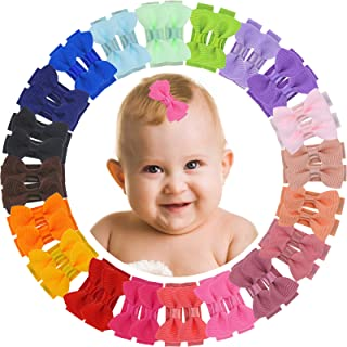 ALinmo 40pcs/20 Colors in Pairs Newborn Baby Mini Hair Bow Snap Hair Clips Tiny Bow Non Slip Hair Accessories For Baby Gir...