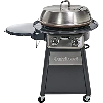CUISINART CGG-888 Grill Stainless Steel Lid 22-Inch Round Outdoor Flat Top Gas, 360° Griddle Cooking Center