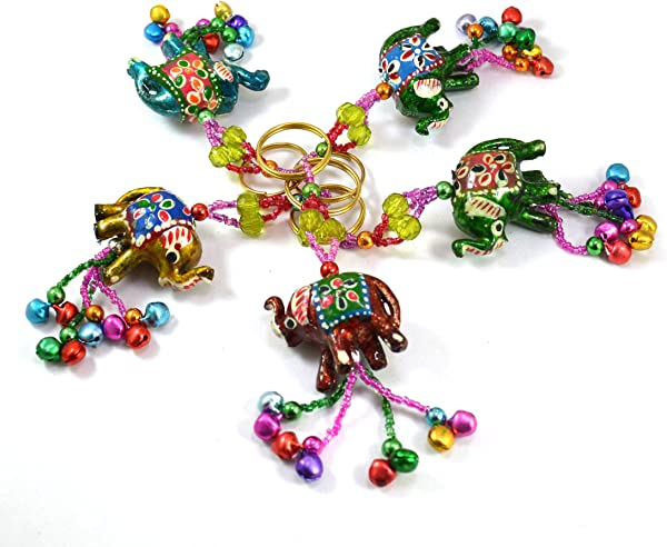 A Set Of 5 Hand Carved Elephant Key Ring Keychain Key Holder Keychain