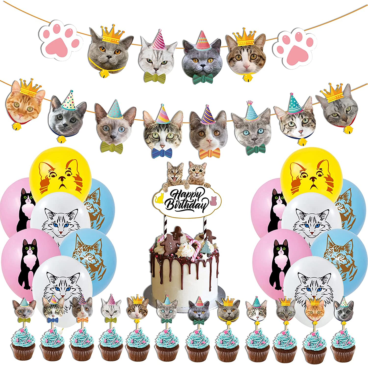 Cute Cat Birthday Party Supplies 46PCS Kawaii Meow Pet Decors for Boys Girls Including Cats Face Banner 1PC, Cupcake Toppers 24PCS, Colorful Aesthetical Balloons 20PCS, Big Cake Topper 1PC Cats Decors for Kids Adults
