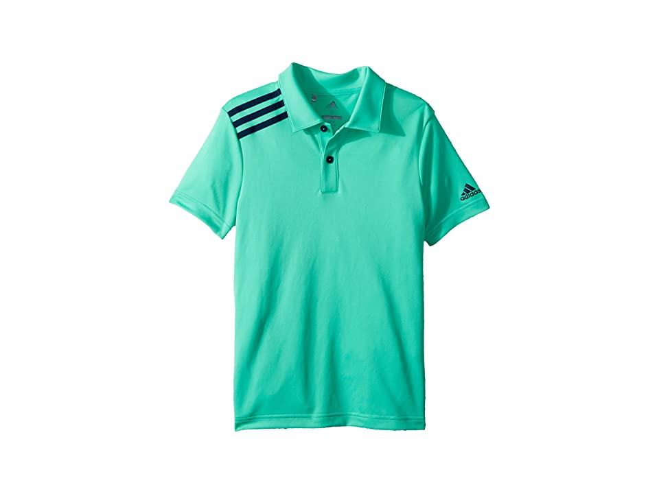 Image of adidas Golf Kids 3 Stripe Polo (Big Kids) (Hi-Res Green) Boy's Short Sleeve Pullover