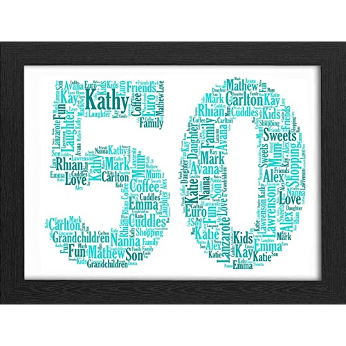 50th Birthday UPK Gifts Personalised Word Art Gift With FREE FRAME Keepsake Any Age 50 1st