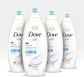 Dove Body Wash 100% Gentle Cleanser, Sulfate Free Gentle Exfoliating Bodywash for Softer, Smoother Skin After Just One Shower, 22 Fl Oz, Pack of 4