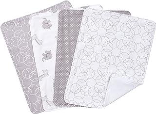 Trend Lab Circles 4 Piece Burp Cloth Set, Gray/White