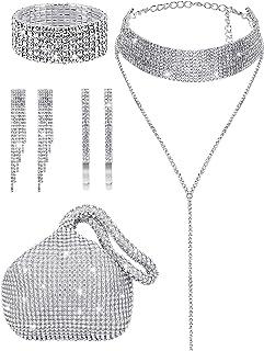 7 Pieces Women Crystal Jewelry Set Include Rhinestone Tassel Choker Necklace Triangle Bling Glitter Purse Rhinestone Stret...