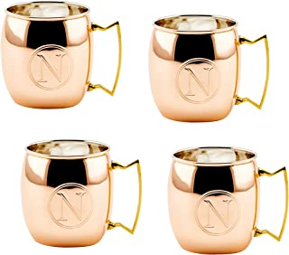 Old Dutch International Solid Moscow Mule Mug, 16-Ounce, Monogrammed N, Copper, Set of 4