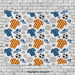 SCOCICI Wall Tapestry Decorative Art Prints can be Hung on The Bedside of Dormitory,Soccer,Sports Clothes Professional Player Athlete Shoes Hand Drawn Style League Game Decorative,Multicolor