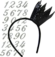DIY Birthday Crown Party Hat Headband Tiara Alternative with Reusable Birthday Numbers - Customize to Pick Your Age (Black)