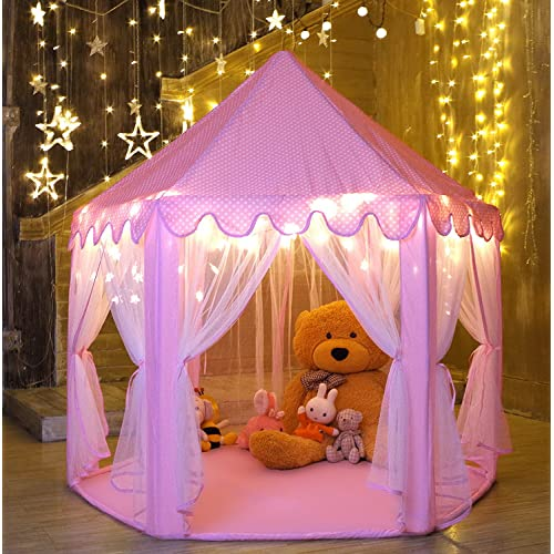 Monobeach Princess Tent Girls Large Playhouse Kids Castle Play With Star Lights Toy For Children