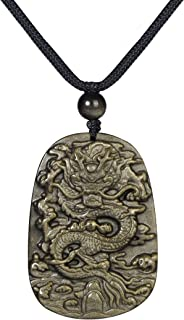 Natural Energy Stone Pendant Engraved Black Obsidian Healing Necklace Adjustable 27.5