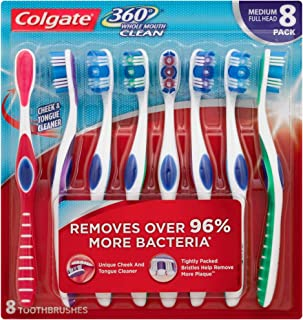Colgate 360 Toothbrush with Tongue and Cheek Cleaner - Medium (8 Pack)