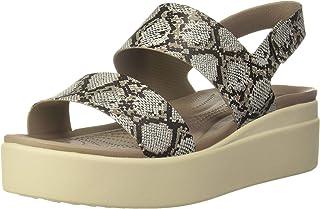Crocs Womens Brooklyn Low Wedge Sandal, Color: Beige, Size: 38 EU