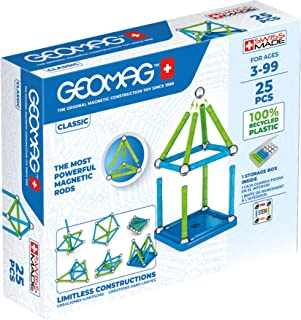 Geomag Classic - 25 Pieces- Magnetic Construction for Children - Green Collection - 100% Recycled Plastic Educational Toys...