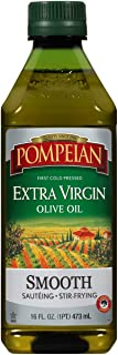 Pompeian Smooth Extra Virgin Olive Oil, First Cold Pressed, Mild and Delicate Flavor, Perfect for Sauteing and Stir-Fryin...