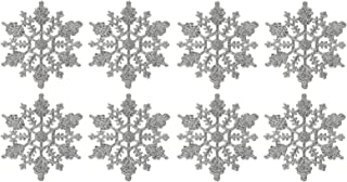 Plastic Snowflake Ornaments,tiny 24pcs Sparkling silver Iridescent Glitter Snowflake Ornaments on String Hanger for Decorating, Crafting and Embellishing (3inch, silver)