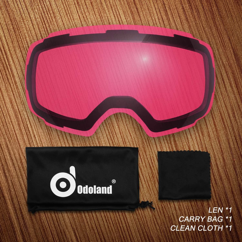 Frameless Interchangeable Lens Anti-Fog 100/% UV Protection Snow Goggles for Men and Women Odoland Ski Goggles Set with Detachable Lens Helmet Compatible-Lens Only