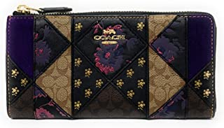 WOMENS L-ZIP WALLET IN SIGNATURE MIXED PATCHWORK F78032 IM/BLACK MULTI