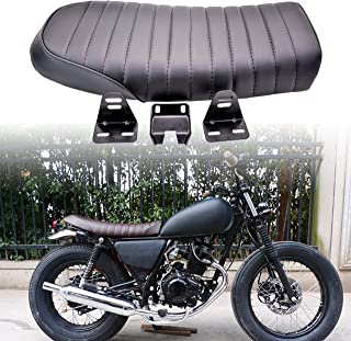 KaTur Universal Black Motorcycle Cafe Racer Seat Flat Vintage Seat Cushion Saddle for Honda CB125S CB550 CL350 450 CB CL Retro Cafe Racer